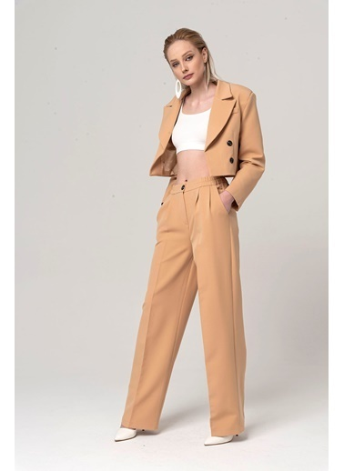 Coral Crop Ceket Pantolon Takım Camel Camel